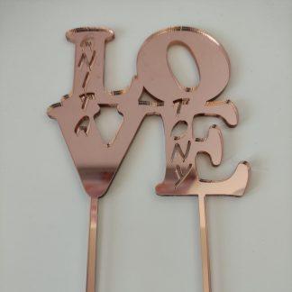 cake topper acrílico espejo personalizado love san valentín boda personal present