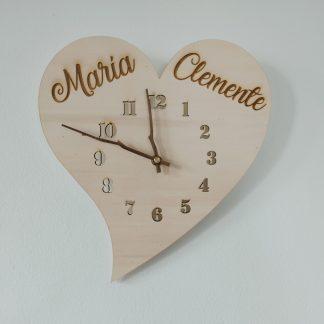 reloj madera pared corazón personalizado personal present
