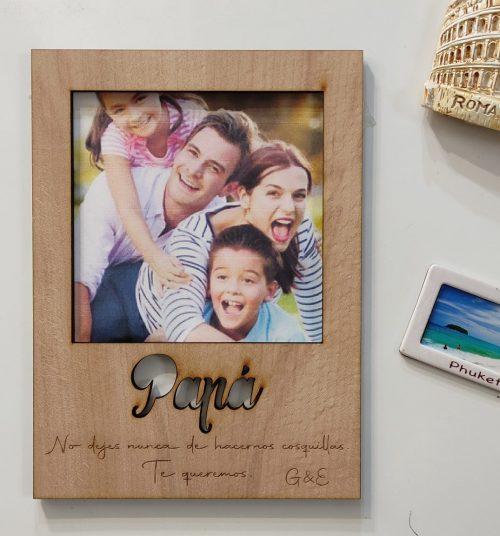 portafoto marco foto madera personalizado con imanes día del padre día de la madre personal present