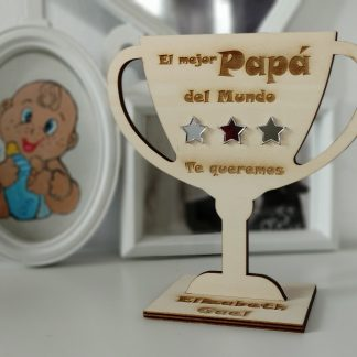 trofeo madera personalizado día del padre