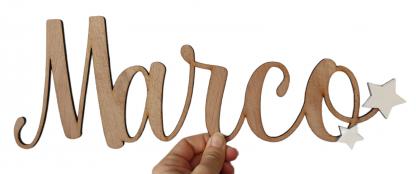 nombre pared madera personalizado lettering