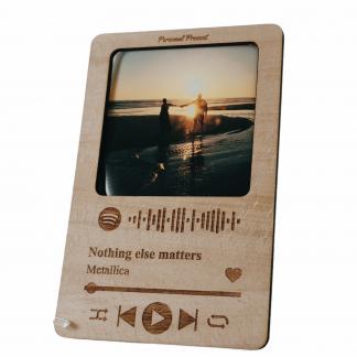 marco fotos portafotos madera personalizado canción spotify personal present