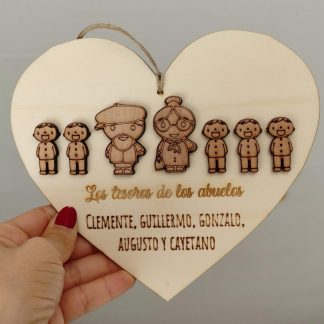 corazón madera personalizado familia