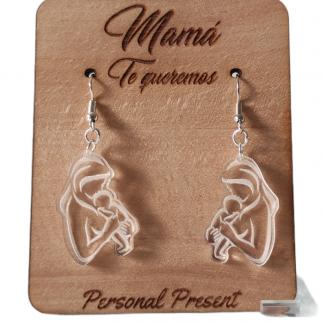 expositor organizador pendientes madera personalizado día de la madre pendientes maternidad acrílico personal present