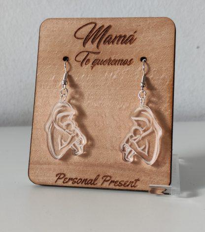 pendientes maternidad acrílico pequeños expositor organizador pendientes madera personalizado día de la madre personal present