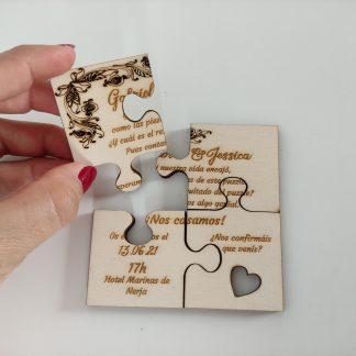 invitación boda bautizo comunión madera acrílico puzzle personal present