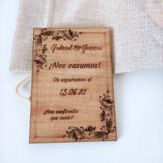 invitación boda bautizo comunión madera personalizada personal present