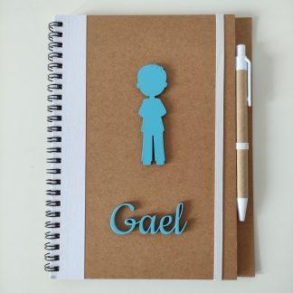 libreta personalizada madera y bolígrafo detalle boda bautizo comunión regalo marketing empresa personal present