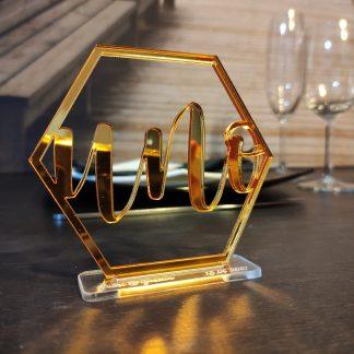 mesero número mesa hexágono boda bautizo comunión personalizado acrílico espejo personal present