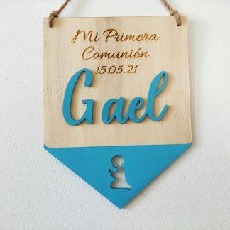 banderín madera personalizado nombre decoración primera comunión personal present