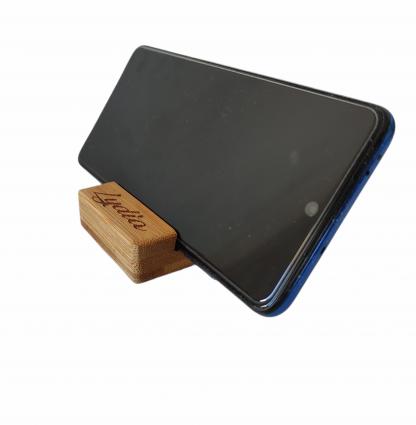 soporte telefono movil tablet madera bambú personalizado regalo empresa detalle invitados personal present