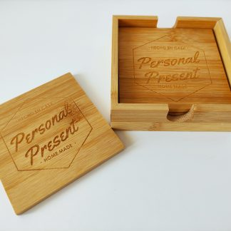 set posavasos madera bambú personalizado personal present