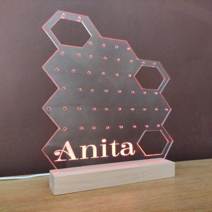 expositor pendientes personalizado acrílico base madera iluminado lámpara led personal present