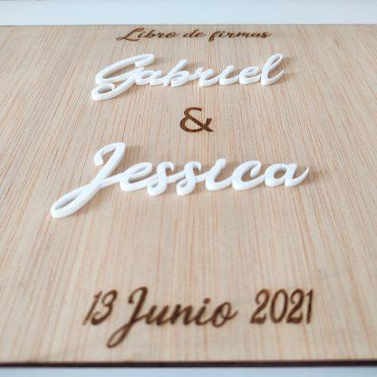 libro firmas madera acrílico personalizado álbum fotos eventos bodas bautizos comuniones decoración personal present