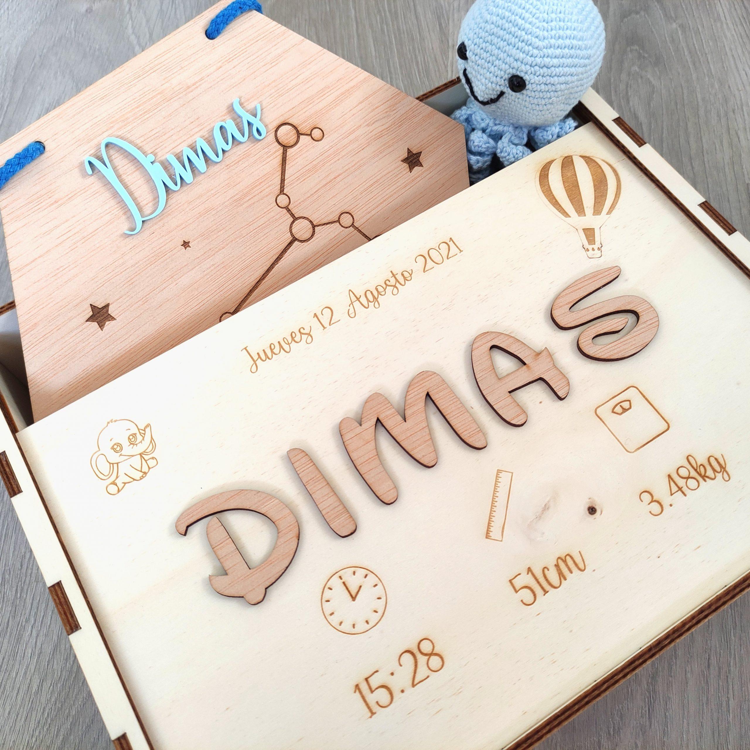 caja artesanal madera personalizada natalicio nombres infantil bebé nacimiento personal present